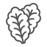 Linha ícone, vegetal e dieta da alface de folha ilustração do vetor