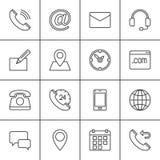 Linha ícones ajustados, coleção do contato do símbolo do vetor do esboço, bloco linear do pictograma Sinais, ilustração do logoti ilustração stock