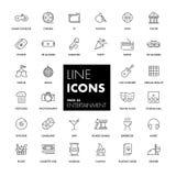 Linha ícones ajustados entertainment ilustração royalty free