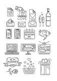 Linha ícones ajustados para o dia de Valentim ilustração do vetor