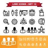 A linha ícones ajustou 12 Fotografia de Stock Royalty Free