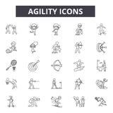 Linha ícones da agilidade Sinais editáveis do curso Ícones do conceito: ágil, desenvolvimento, scrum, estratégia, metodologia, so ilustração do vetor