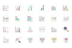 Linha ícones 2 da analítica dos dados do vetor Foto de Stock