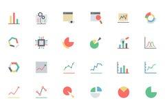Linha ícones 1 da analítica dos dados do vetor Imagens de Stock