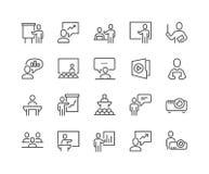Linha ícones da apresentação do negócio ilustração royalty free