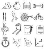 Linha ícones da aptidão da saúde ajustados Fotos de Stock