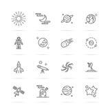 Linha ícones da astronomia ilustração stock