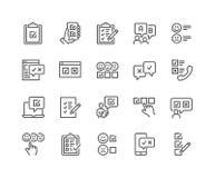 Linha ícones da avaliação ilustração stock