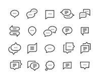 Linha ícones da bolha do discurso Símbolos finos do diálogo da conversação do bate-papo da conversa, nuvem cômica da mensagem da  ilustração do vetor