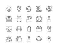 Linha ícones da cerveja Imagens de Stock Royalty Free