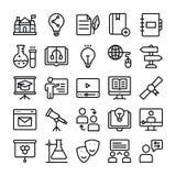 A linha ícones da ciência e da educação embala ilustração stock