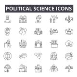 Linha ícones da ciência política, sinais, grupo do vetor, conceito linear, ilustração do esboço ilustração do vetor