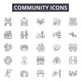 Linha ícones da comunidade, sinais, grupo do vetor, conceito da ilustração do esboço ilustração stock