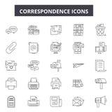 Linha ícones da correspondência para a Web e o projeto móvel Sinais editáveis do curso Ilustrações do conceito do esboço da corre ilustração royalty free