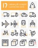 Linha ícones da entrega e de transporte Imagens de Stock Royalty Free