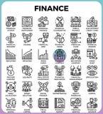 Linha ícones da finança