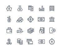 Linha ícones da finança Conta do negócio de dinheiro, cálculo do dinheiro da audição da finança da gestão da moeda Investimento e ilustração do vetor