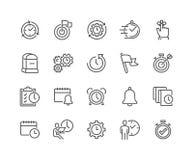 Linha ícones da gestão de tempo ilustração royalty free