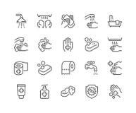 Linha ícones da higiene ilustração do vetor