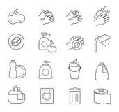 Linha ícones da higiene Limpando e limpe sinais da silhueta do vetor para o toalete do banheiro ilustração do vetor