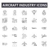 Linha ícones da indústria de aviões Sinais editáveis do curso Ícones do conceito: aviação, jato, avião, transporte aéreo, voo ilustração stock