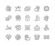 Linha ícones da inteligência artificial