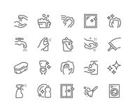 Linha ícones da limpeza ilustração stock