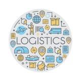 Linha ícones da logística do vetor Imagem de Stock Royalty Free