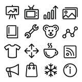 A linha ícones da navegação do menu da Web ajustou - a galeria de fotografia, loja em linha Fotos de Stock