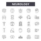 Linha ícones da neurologia, sinais, grupo do vetor, conceito linear, ilustração do esboço ilustração stock