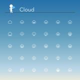 Linha ícones da nuvem Fotos de Stock