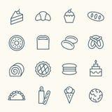 Linha ícones da padaria Fotos de Stock