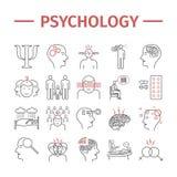 Linha ícones da psicologia ajustados Saúde mental r Sinais do vetor para gráficos da Web ilustração stock