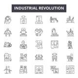 Linha ícones da Revolução Industrial para a Web e o projeto móvel Sinais editáveis do curso Conceito do esboço da Revolução Indus ilustração royalty free