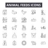 Linha ícones das alimentações de animal para a Web e o projeto móvel Sinais editáveis do curso Ilustrações do conceito do esboço  ilustração stock