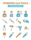 Linha ícones das ferramentas dos trabalhadores da construção ajustados ilustração stock