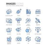 Linha ícones das imagens Fotos de Stock Royalty Free