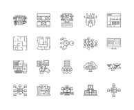 Linha ícones de Blockchain, sinais, grupo do vetor, conceito da ilustração do esboço ilustração royalty free