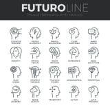 Linha ícones de Futuro do processo da mente humana ajustados Fotografia de Stock Royalty Free