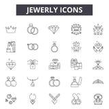 Linha ícones de Jewerly, sinais, grupo do vetor, conceito da ilustração do esboço ilustração stock