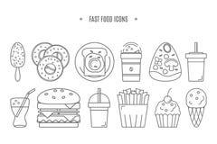 Linha ícones do alimento Fotos de Stock
