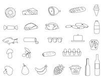 Linha ícones do alimento do mercado ajustados Imagens de Stock Royalty Free