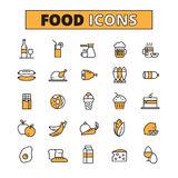 Linha ícones do alimento e da bebida ajustados Fotos de Stock