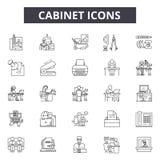 Linha ícones do armário para a Web e o projeto móvel Sinais editáveis do curso Ilustrações do conceito do esboço do armário ilustração royalty free