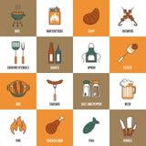 Linha ícones do BBQ Fotografia de Stock Royalty Free