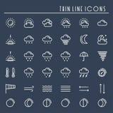 Linha ícones do bloco do tempo ajustados meteorologia Elementos na moda do projeto da previsão de tempo Molde para app móvel, Web Imagem de Stock Royalty Free