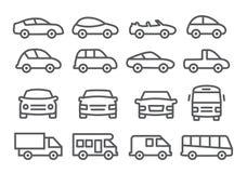 Linha ícones do carro Fotos de Stock