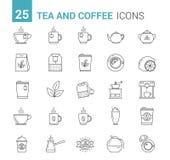Linha ícones do chá e do café Fotos de Stock