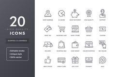 Linha ícones do comércio eletrônico ilustração stock