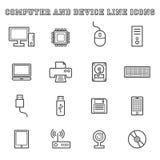 Linha ícones do computador e do dispositivo Fotografia de Stock